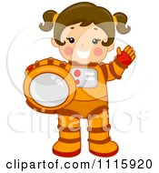 Clipart Cute Girl Astronaut Holding Her Helmet And Waving Royalty Free Vector Illustration by BNP Design Studio