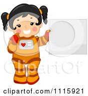 Clipart Cute Girl Astronaut Holding A Sign Royalty Free Vector Illustration