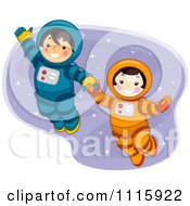 Clipart Cute Boy And Girl Astronauts Holding Hands And Floating In Space Royalty Free Vector Illustration by BNP Design Studio