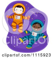 Clipart Cute Boy And Girl Astronauts Floating In Space Royalty Free Vector Illustration