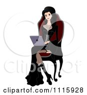 Clipart Gothic Woman Using A Laptop In A High Back Chair Royalty Free Vector Illustration