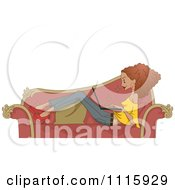 Clipart Black Woman Using Her Laptop On A Sofa Royalty Free Vector Illustration