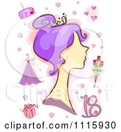 Clipart Purple Haired Woman With Number 18 And Debute Items Royalty Free Vector Illustration
