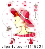 Clipart Woman With A Hat And Red Fashion Items Royalty Free Vector Illustration