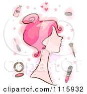 Pink Haired Woman With Makeup Items