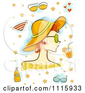 Clipart Summer Woman With A Hat And Other Items Royalty Free Vector Illustration
