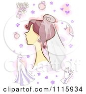 Clipart Bride With Wedding Items And Purple Flowers And Hearts Royalty Free Vector Illustration