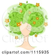 Clipart Womans Face With Floral Tree Hair Royalty Free Vector Illustration