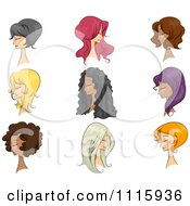 Clipart Diverse Mannequins With Different Hairstyle Wigs On Royalty Free Vector Illustration