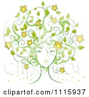 Womans Face With Vine Hair And Flowers
