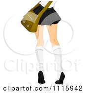 Rear View Of The Legs Of A School Girl In A Short Skirt And Knee High Socks