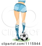 Clipart Rear View Of The Legs Of A Sexy Woman Resting Her Foot On A Soccer Ball Royalty Free Vector Illustration by BNP Design Studio