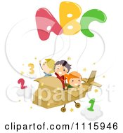 Clipart Happy Kids Flying A Cardboard Plane With Abc Balloons Royalty Free Vector Illustration