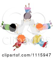 Clipart Diverse Kids Drawing In A Circle Royalty Free Vector Illustration