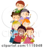 Clipart Happy Diverse School Kids Waving Royalty Free Vector Illustration by BNP Design Studio #COLLC1115948-0148
