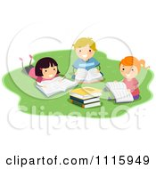 Clipart Happy Kids Reading School Books In A Park Royalty Free Vector Illustration