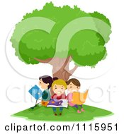 Clipart Happy Kids Reading Under A Tree Royalty Free Vector Illustration