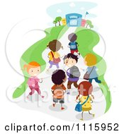 Clipart Happy Diverse Kids Walking Towards A School Building Royalty Free Vector Illustration