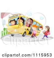 Clipart Happy Diverse Kids On A School Bus At A Stop Royalty Free Vector Illustration