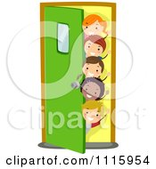 Clipart Happy Diverse School Kids Waving And Peeking Around A Door Royalty Free Vector Illustration