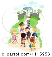 Clipart Happy Diverse School Kids At A Zoo On A Field Trip Royalty Free Vector Illustration by BNP Design Studio