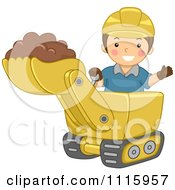 Clipart Happy Boy Operating A Bulldozer Royalty Free Vector Illustration