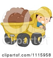 Clipart Happy Boy Operating A Dump Truck Royalty Free Vector Illustration