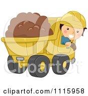 Happy Boy Operating A Dump Truck