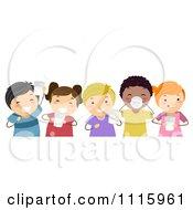 Clipart Happy Diverse Kids Drinking Milk Royalty Free Vector Illustration