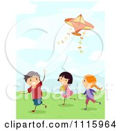 Clipart Happy Kids Flying A Plane Kite Outside Royalty Free Vector Illustration