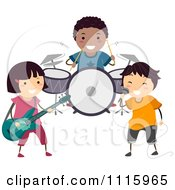 Clipart Happy Diverse Kids In A Band Royalty Free Vector Illustration