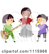 Clipart Happy Diverse Music Kids In A Pretend Band Royalty Free Vector Illustration