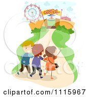 Clipart Happy Kids Walking To A Carnival Royalty Free Vector Illustration by BNP Design Studio