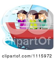 Clipart Happy Diverse Kids Shouting From A Ship Royalty Free Vector Illustration by BNP Design Studio