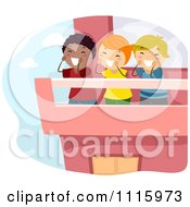 Clipart Happy Diverse Kids Shouting From A Terrace Royalty Free Vector Illustration by BNP Design Studio