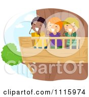 Clipart Happy Diverse Kids Shouting From A Tree House Royalty Free Vector Illustration by BNP Design Studio