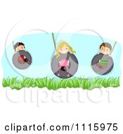 Clipart Happy Kids Playing On Tire Swings Royalty Free Vector Illustration