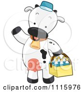 Cute Delivery Cow Carrying Milk Bottles In A Basket