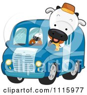 Clipart Milk Delivery Truck Cow Royalty Free Vector Illustration