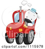 Clipart Happy Cow Driving A Farm Tractor Royalty Free Vector Illustration