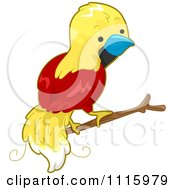 Clipart Cute Bird Of Paradise On A Branch Royalty Free Vector Illustration