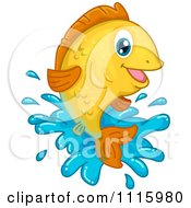 Clipart Happy Goldfish Leaping Out Of Water Royalty Free Vector Illustration
