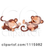 Clipart Cute Laughing Monkeys Royalty Free Vector Illustration