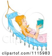 Happy Young Woman Reading A Book In A Hammock