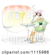 Watercolor Painted Woman Drinking Coffee At An Outdoor Cafe