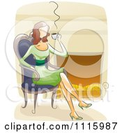 Clipart Watercolor Painted Woman Drinking Coffee By A Fireplace Royalty Free Vector Illustration
