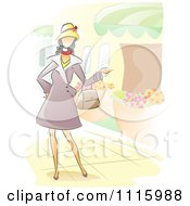 Watercolor Painted Woman Walking Through A Garden