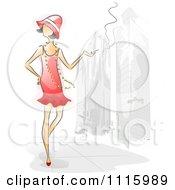 Watercolor Painted Woman Smoking On A Sidewalk