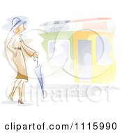 Watercolor Painted Woman Walking With An Umbrella