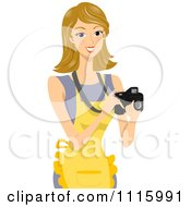 Clipart Happy Blond Woman Wearing An Apron And Taking Food Photos Royalty Free Vector Illustration by BNP Design Studio